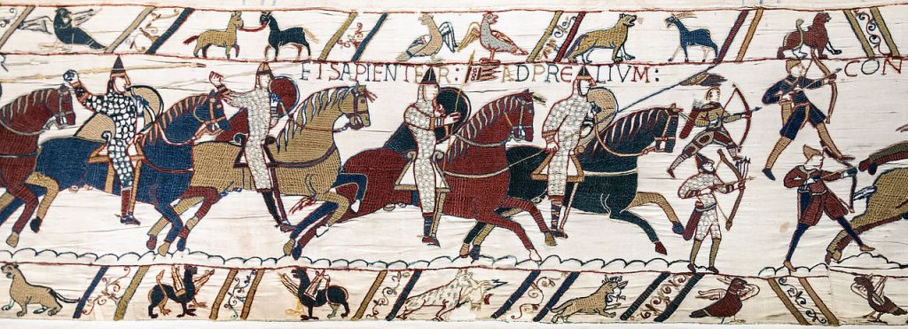 1280px-Bayeux_Tapestry_scene51_Battle_of_Hastings_Norman_knights_and_archers