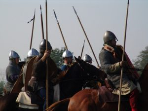 norman horsemen with lances