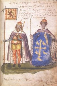 Malcolm_III_and_Queen_Margaret_from_the_Seton_Armorial,_1591